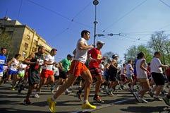 Competitors run during Marathon race Royalty Free Stock Photos
