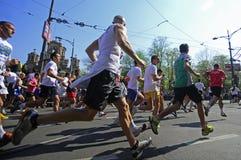 Competitors run during Marathon race Stock Photos