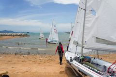 Competitors set sail Royalty Free Stock Images