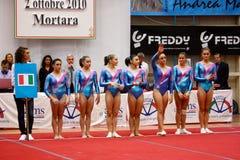 Competizione internazionale artistica di ginnastica Fotografia Stock