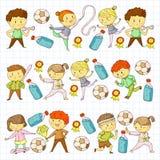 Competizioni sportive dei bambini Giovani atheles che giocano a calcio, calcio, baseball, pallacanestro Funzionare delle ragazze  royalty illustrazione gratis