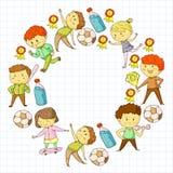 Competizioni sportive dei bambini Giovani atheles che giocano a calcio, calcio, baseball, pallacanestro Funzionare delle ragazze  illustrazione di stock