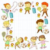 Competizioni sportive dei bambini Giovani atheles che giocano a calcio, calcio, baseball, pallacanestro Funzionare delle ragazze  illustrazione vettoriale