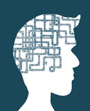 Compex pipeline as brain in man silhouette Stock Photo
