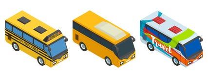 Compilação de ônibus isométricos três partes Imagem de Stock Royalty Free