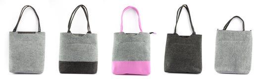 Compilação de bolsas isoladas de feltro para comprar Fotografia de Stock