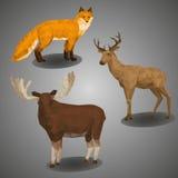 Compilación polivinílica baja del animal del bosque Ilustration fijó en estilo poligonal Fox, ciervos y alces en fondo gris Imagenes de archivo