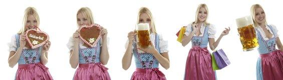 Compilatie van Oktoberfest-serveersters Stock Fotografie