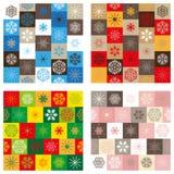 Compilatie van vier naadloze patronen - Kerstmis Stock Foto's