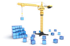 Compilation. Crane gathering cubes in an organized structure. Isolated on white. Hi-res digitally generated image Royalty Free Stock Images