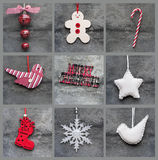 Compilation collage of aged traditional Christmas decorations Stock Image