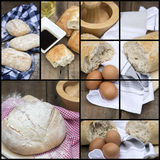 Compilation collage of fresh bread making stages. Collage compilation of various stages of bread making Royalty Free Stock Image