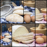 Compilation collage of fresh bread making stages. Collage compilation of various stages of bread making Stock Photos