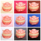 Compilation of dentures on colorful backgrounds Royalty Free Stock Images