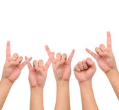 Compilation of  different hand signs Royalty Free Stock Images