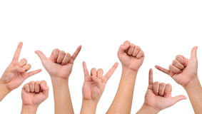 Compilation of  different hand signs Royalty Free Stock Photos