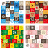 Compilation of four seamless patterns - Christmas Stock Photos