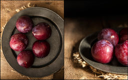 Compilation of images fresh plums in moody natural lighting set Stock Photography