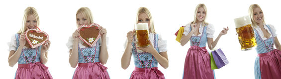 Compilation of Oktoberfest waitresses. With beer and a gingerbread heart Stock Photography