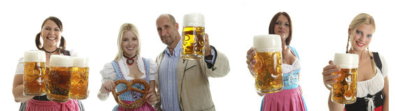 Compilation of Oktoberfest waitresses and a couple. With beer and a pretzel Stock Photos
