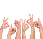 Compilation of positive hand signs Stock Photo