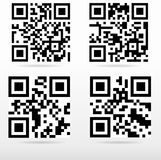 Compilation sample qr code ready to scan. With smart phone Stock Photography