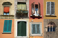 Compilation of windows and shutters stock image