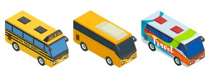 Compilazione dei bus isometrici tre pezzi royalty illustrazione gratis