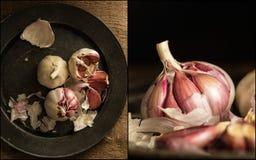 Compilazione delle immagini di aglio crudo fresco alla luce naturale lunatica Immagine Stock