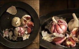 Compilazione delle immagini di aglio crudo fresco alla luce naturale lunatica Fotografia Stock