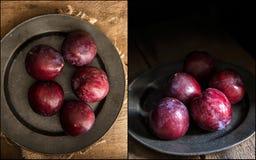 Compilazione delle prugne fresche di immagini nell'insieme lunatico di illuminazione naturale Immagini Stock