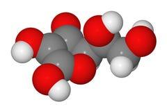 Compilazione di modello della molecola dell'acido ascorbico Immagine Stock
