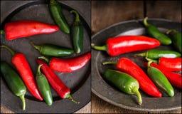 Compilazione di rosso e delle immagini dei peperoni verdi con l'annata lunatica r Immagine Stock