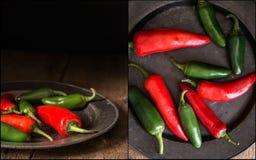 Compilazione di rosso e delle immagini dei peperoni verdi con l'annata lunatica r Fotografia Stock