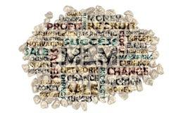 Compilazione su MLM, vendita multilivelli - parole di parola chiave del ritaglio dai mucchi delle pietre spaccate dorate immagine stock