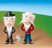 Compinches y animal doméstico del Grandpa stock de ilustración