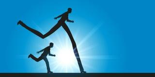 Compita entre dois homens, um de quem tem uma vantagem running com pernas de pau ilustração stock