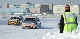 Compita estrelas na estrada do gelo em Moscovo Imagem de Stock
