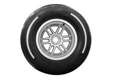 Compitiendo con el neumático aislado Foto de archivo