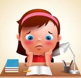 Compito di studio annoiato della scuola della ragazza del bambino del carattere prescolare di vettore royalty illustrazione gratis
