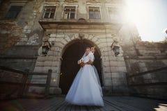 Complètement du marié élégant d'amour avec la jeune mariée blonde de luxe sur le backg Photographie stock libre de droits