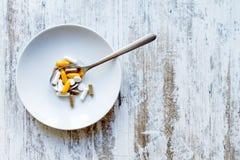 Compléments alimentaires, fond Images libres de droits