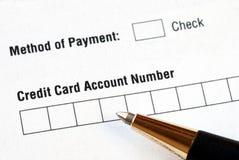 Complétez l'information par la carte de crédit photo libre de droits