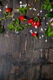 Complétez vers le bas des poivrons de piment d'un rouge ardent, le sel de mer, verdure sur des fissures Images stock