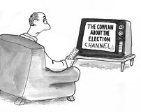 Complain about Election. Political cartoon showing the 'complain about the election' tv channel Royalty Free Stock Photo