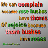 Complain or Rejoice quote - Abraham Lincoln Stock Image