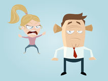 Complaining cartoon girl and guy Stock Images