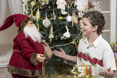 Complaining to Santa Clause Royalty Free Stock Photography