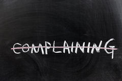 Complaining word with a line. Chalk drawing - Complaining word with a line royalty free stock photos