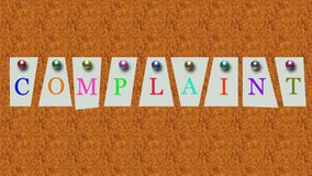 Complaint in box style stock photos